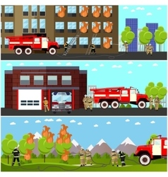 Fire fighting department horizontal banners vector image vector image