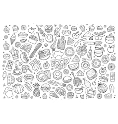 Foods doodles hand drawn sketchy symbols vector