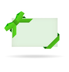 Green gift card with dashed ribbon and dashed bow vector