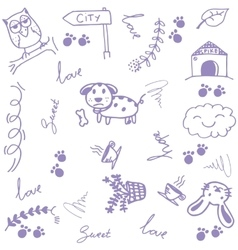 Happy animal doodle art vector image vector image
