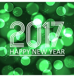 happy new year 2017 on green bokeh circle vector image vector image