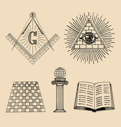 Masonic symbols set sacred society icons vector