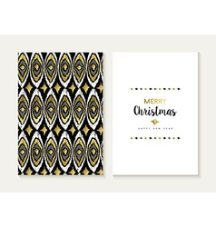 Merry christmas retro tribal gold pattern card set vector image