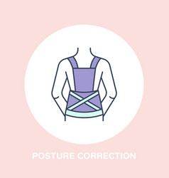 posture correction icon line logo flat sign for vector image
