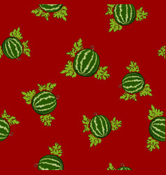 Seamless pattern watermelon on red background vector