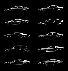 set of white silhouette car on black background vector image vector image