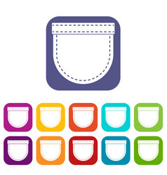 Shirt pocket icons set flat vector