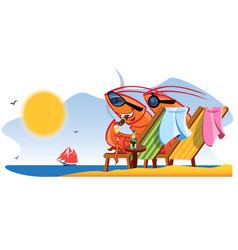 shrimps at the beach cartoon characters vector image
