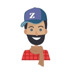 Smiling man with beard in blue hat and brown scarf vector