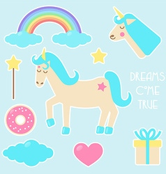 Unicorn set of stickers vector image