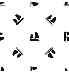 vietnamese junk boat pattern seamless black vector image vector image