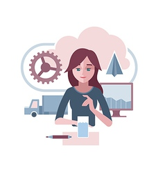 Woman is presenting an abstract corporate vector