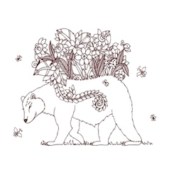 Zen tangle bear with flowers vector