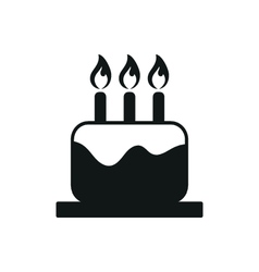 Simple black cake and candle icon on white vector