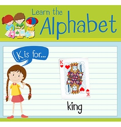 Flashcard letter K is for king vector image