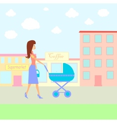 Woman walking with baby pram vector