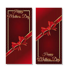 mothers day cards template with a ribbon and bow vector image