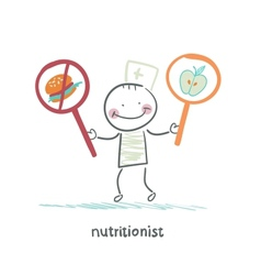 nutritionist promotes healthy food vector image