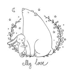 Lovely cartoon bear and hare happy animals vector