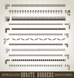 Vintage ornate borders set of 12 vector