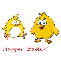 Cute little cartoon Happy Easter chicks vector image