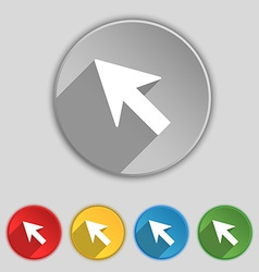 Cursor arrow icon sign symbol on five flat buttons vector