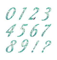 Doodle numbers with abstract floral pattern vector image