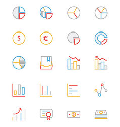 Business and finance colored outline icons 11 vector