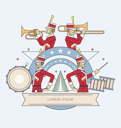 Military band line style vector