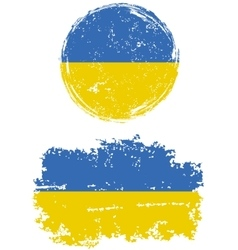Ukrainian round and square grunge flags vector