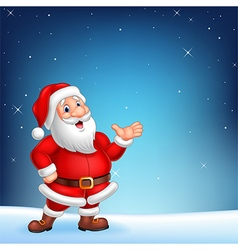 Cute santa presenting on a night sky background vector