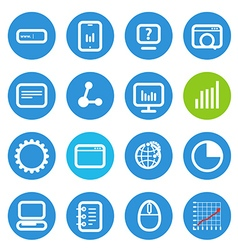 Different seo icons set with rounded corners vector