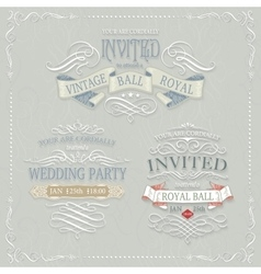 Set of vintage labels with calligraphic swirls vector