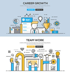 Flat design line concept Career and Team work vector image