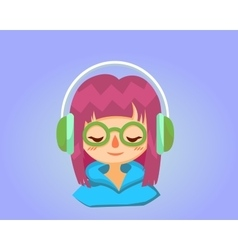 Cute happy girl with glasses listens to music vector