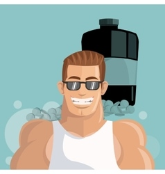 Healthy lifestyle cartoon man design vector