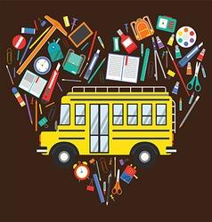 Back to school school bus and school items vector