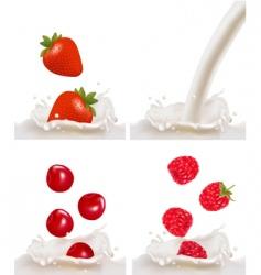 berries and milk vector image
