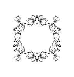 Black line frame with flowers vector image
