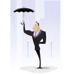Businessman standing with umbrella in rain vector image vector image