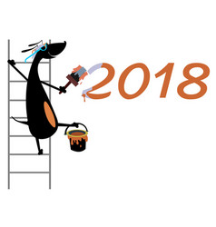 Cartoon dog refreshes new year inscription isolate vector
