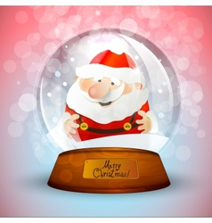 Christmas snow globe with Santa Claus vector image