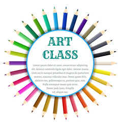 Color pencils circle banner vector