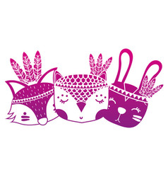 Color silhouette cute animals head friends with vector