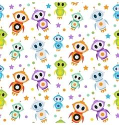 Cute kids seamless pattern robot rocket children vector