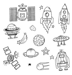 doodle rocket vector image vector image