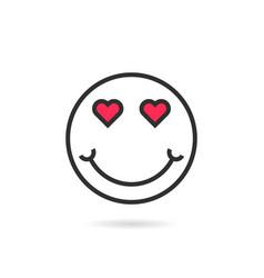 enamored thin line emoji icon with shadow vector image vector image