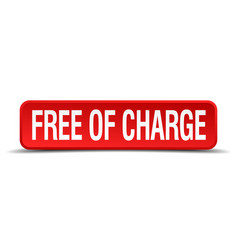 free of charge red 3d square button vector image vector image