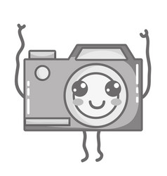 grayscale kawaii cute happy digital camera vector image