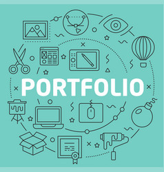 green line flat circle portfolio vector image vector image